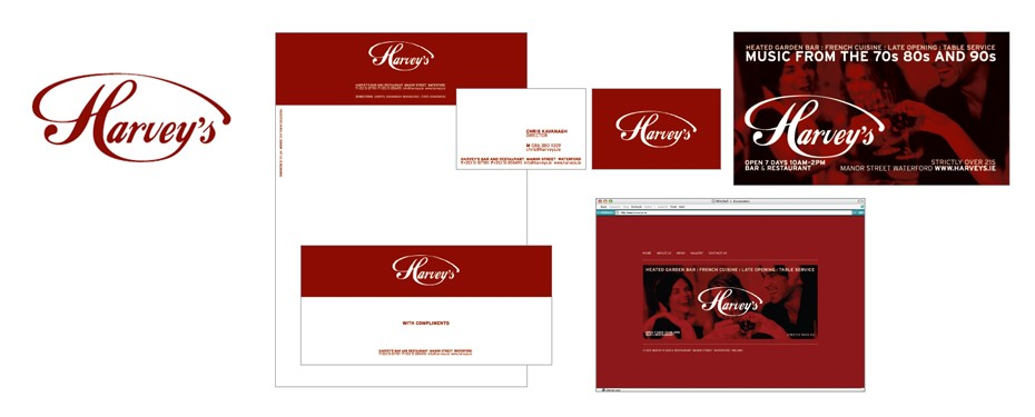 One Productions did the web design and brand design for Harvey's bar and restaurant.